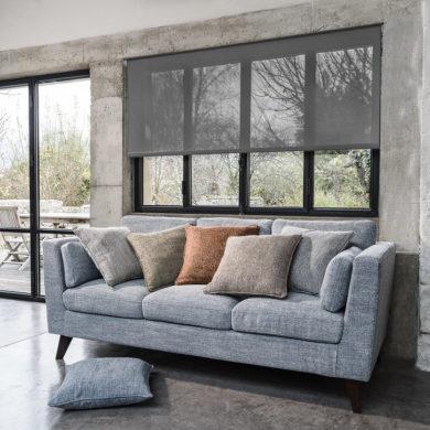 Canapé avec des coussins de différentes couleurs