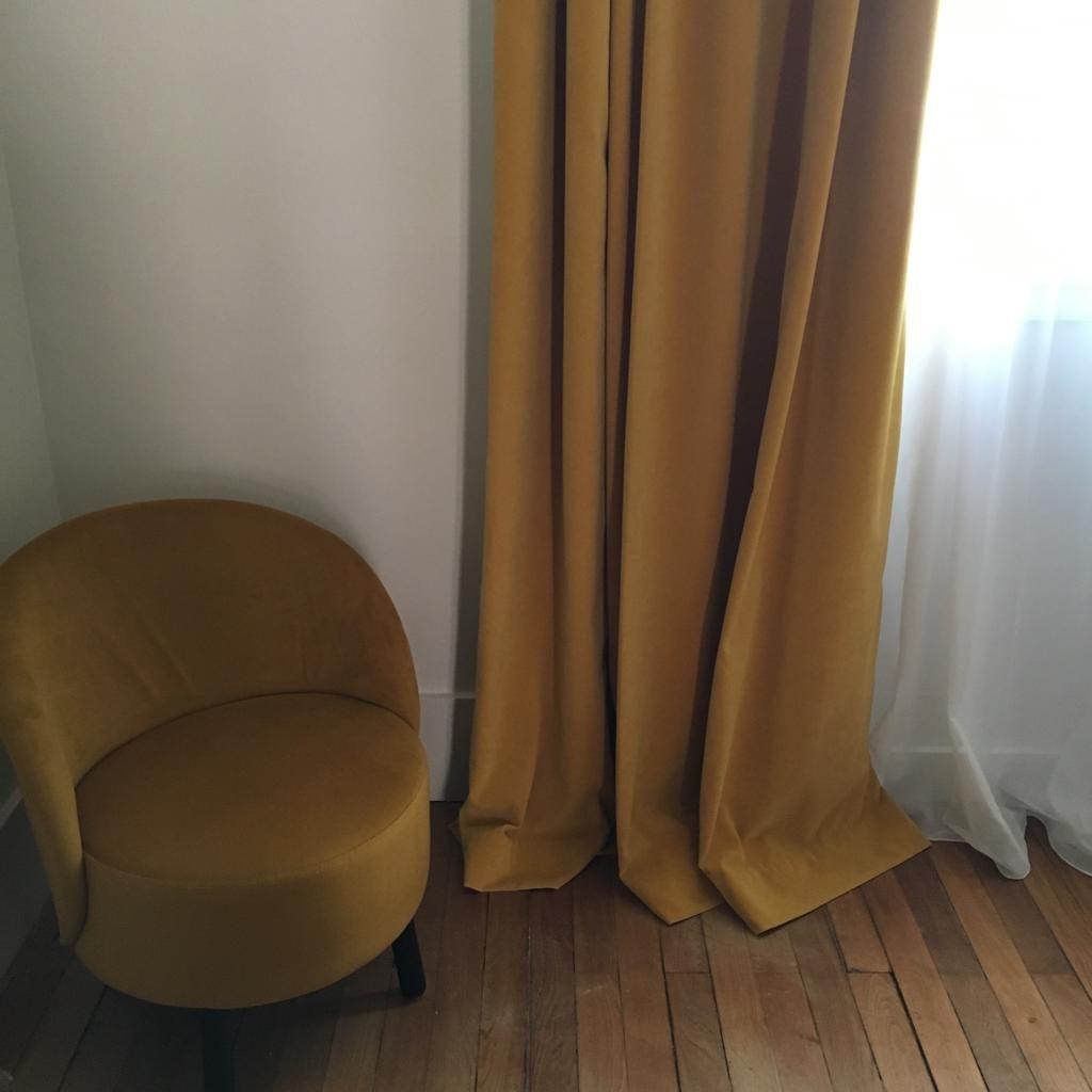 rideaux tissu velours or