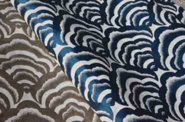 tissu jacquard motif asiatique nuages