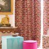 Rideau motifs velours multicolore