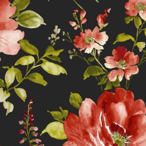 tissu imprimé fleurs rouges