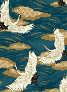 tissu japonais motif grues