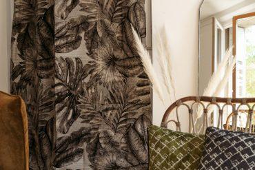 Rideau tissu jacquard motif jungle velours