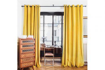 rideaux jaune moutarde