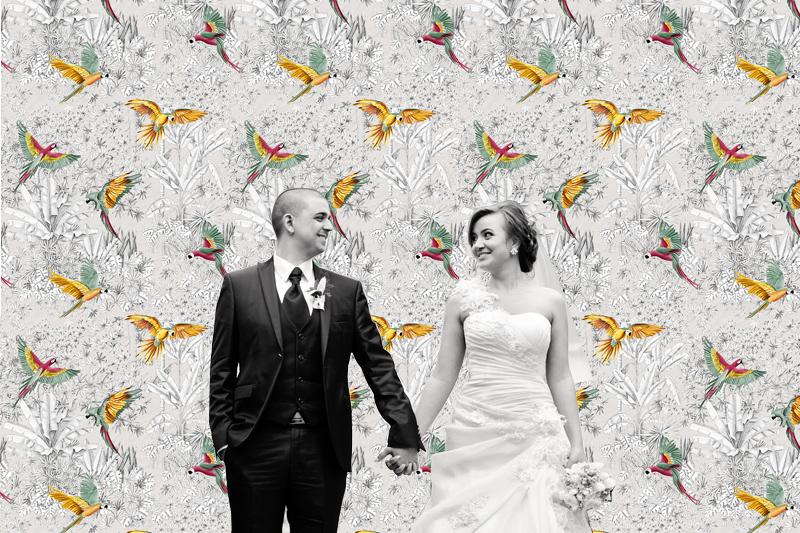 Photobooth mariage tissu imprimé