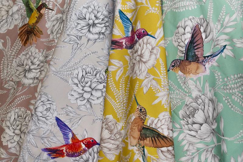 tissus oiseaux fleurs
