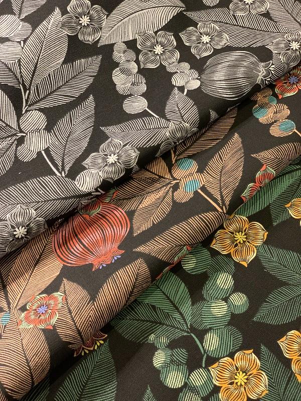 tissu feuilles fleurs