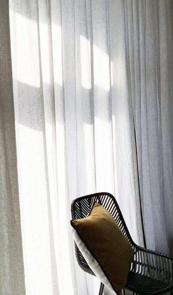 rideau lin blanc