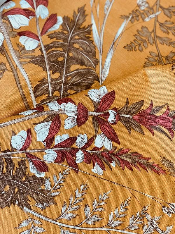 tissu imprimé floral seventies