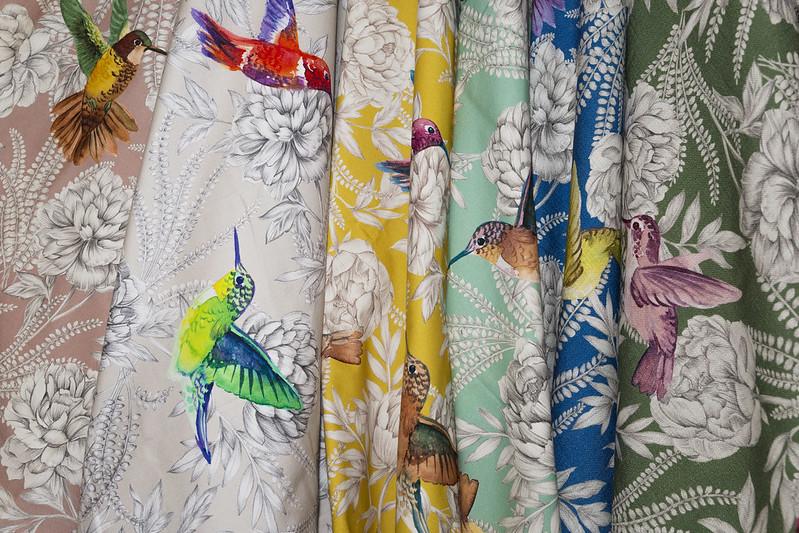 tissu fleurs oiseaux