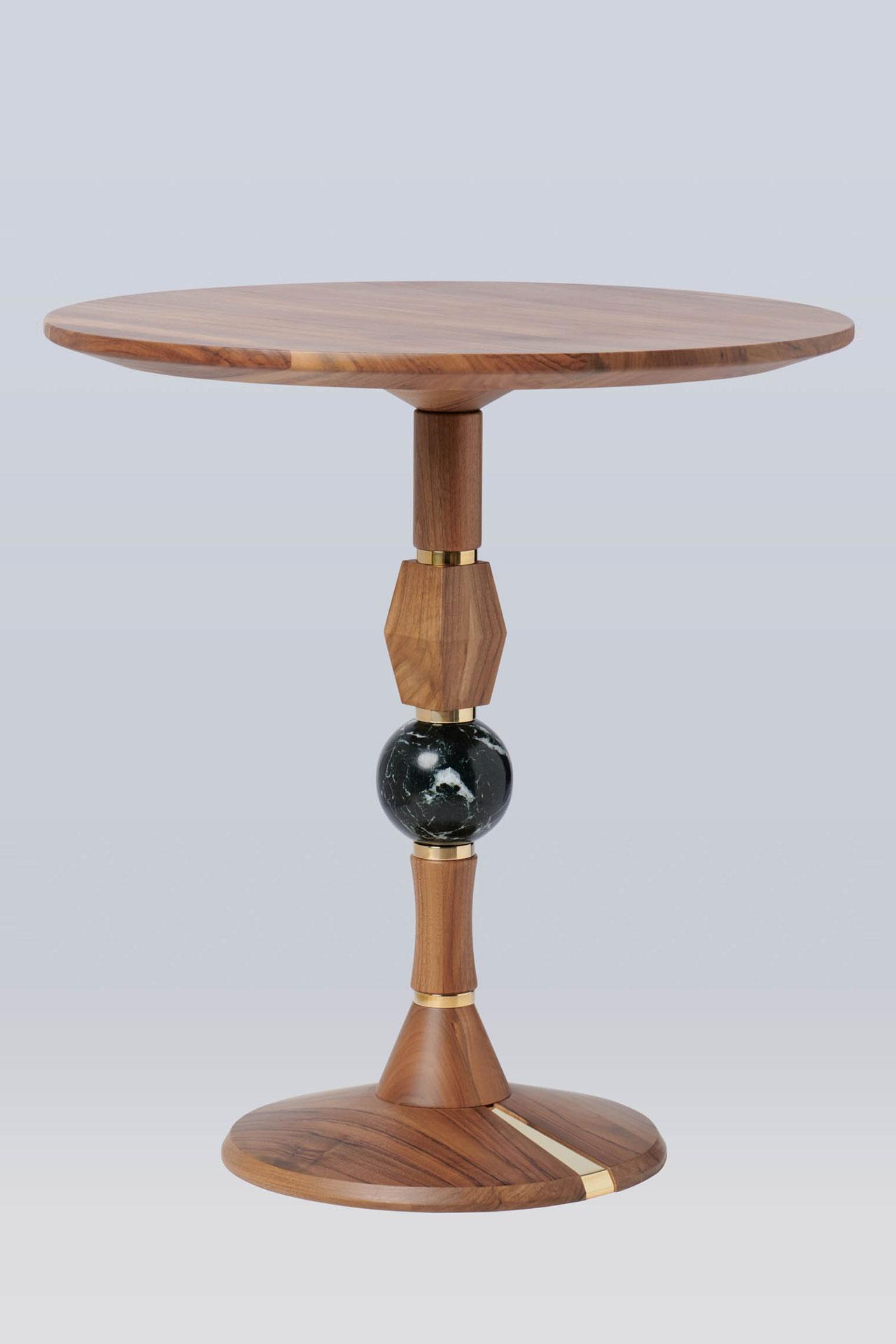 table bois et marbre