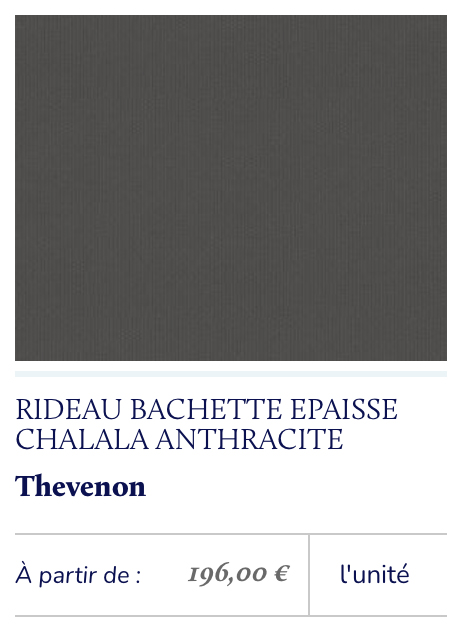 rideaux tissu coton gris