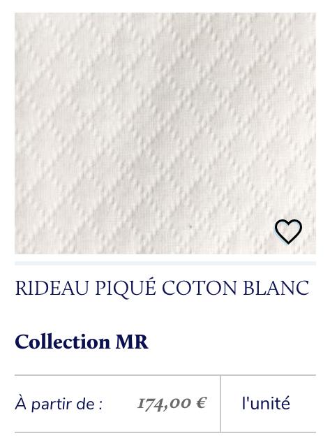 tissu piqué blanc rideau