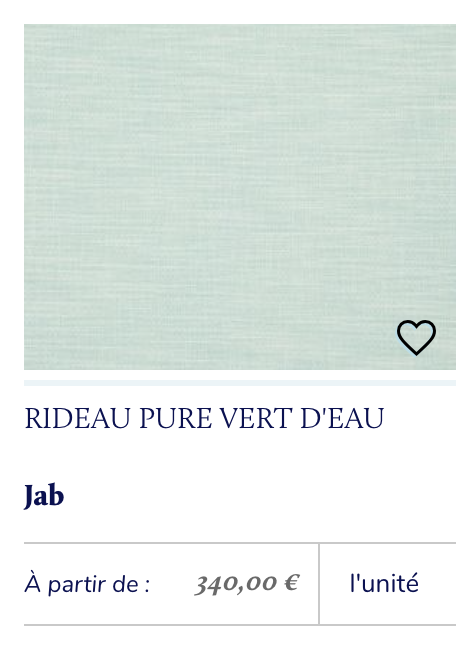 tissu vert d'eau rideau