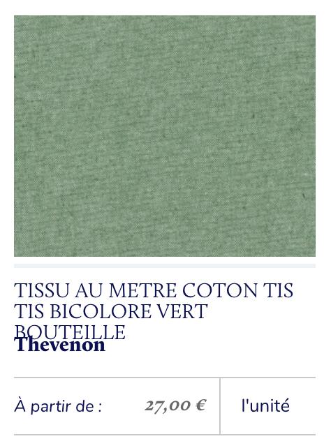 tissu toile vert chiné