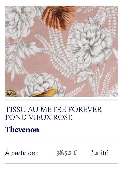 tissu imprimé fond vieux rose