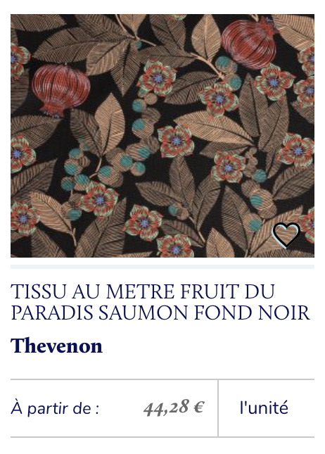 tissu imprimé rétro saumon noir jardin