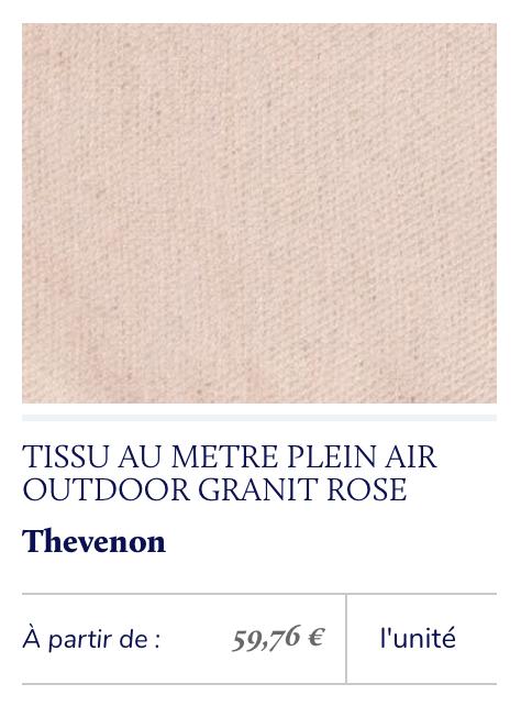 tissu outdoor rose poudré