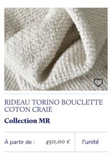 rideau tissu bouclette
