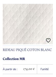 rideau tissu piqué blanc