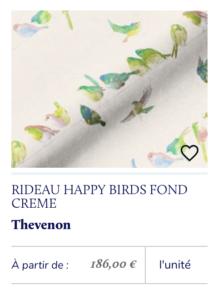 rideaux imprimé oiseaux