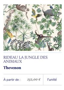 rideau tissu jungle animaux