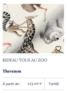 rideau animaux enfant