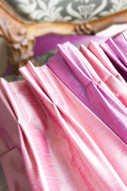 Rideaux en tissu aspect soie à tête « plis flamands »